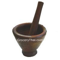 "Thai Laos  Clay Mortar and Pestle 8"""