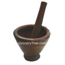 Thai Laos  Clay Mortar and Pestle 8""