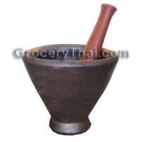 "Thai Laos Clay Mortar and pestle 10"""