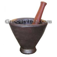 Thai Laos Clay Mortar and pestle 10""