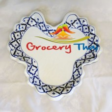 Thai Ceramic Heart Shape Serving Plate, Set of 2