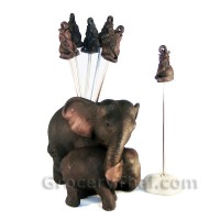 Mother and Baby Elephant Fruit and Appetizer Fork Set