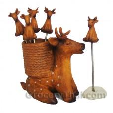 Sitting Deer Fruit and Appetizer Fork Set